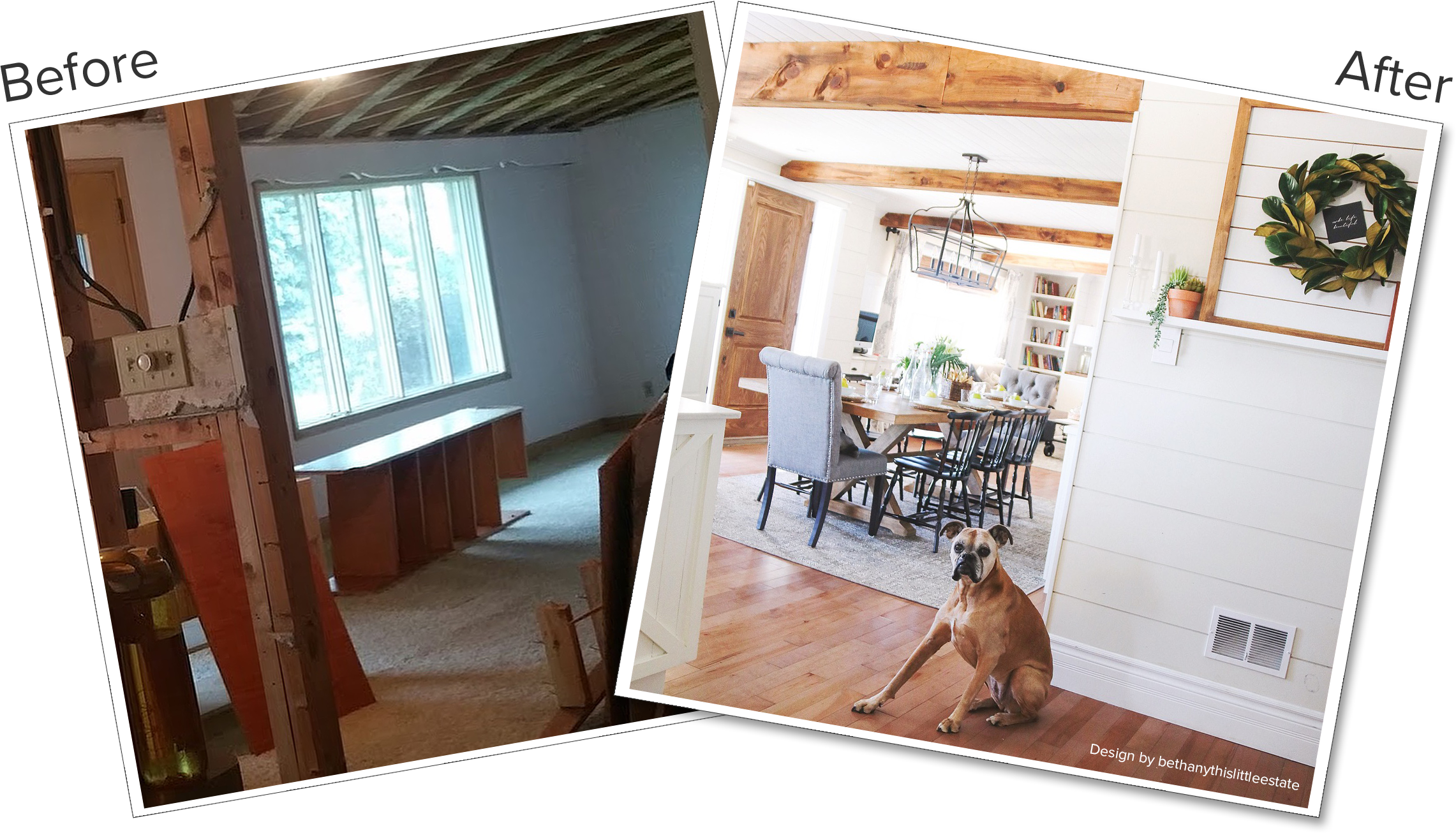 Farmhouse dining room before and after
