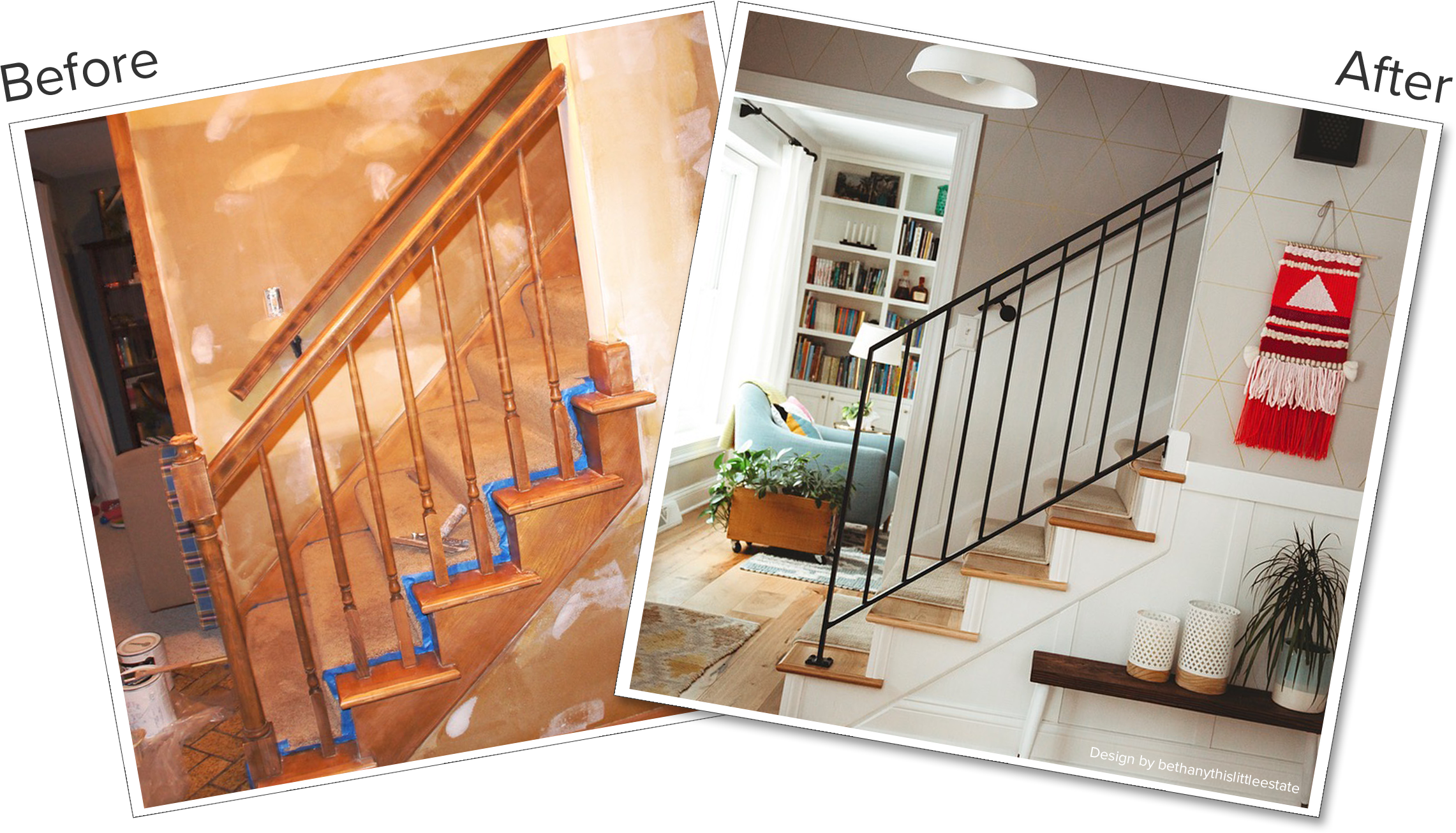 Modern staircase before and after