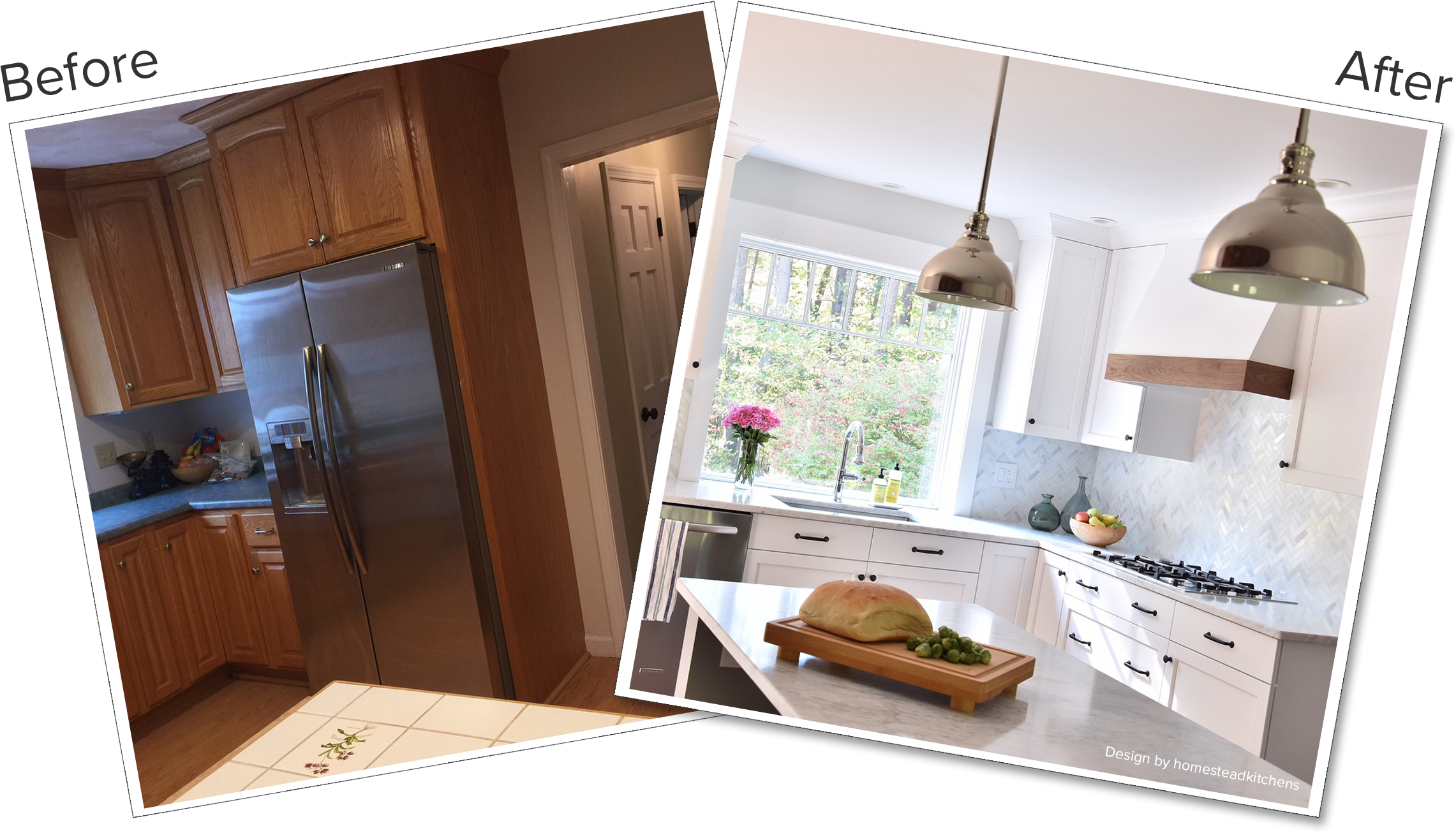 Contemporary kitchen before and after