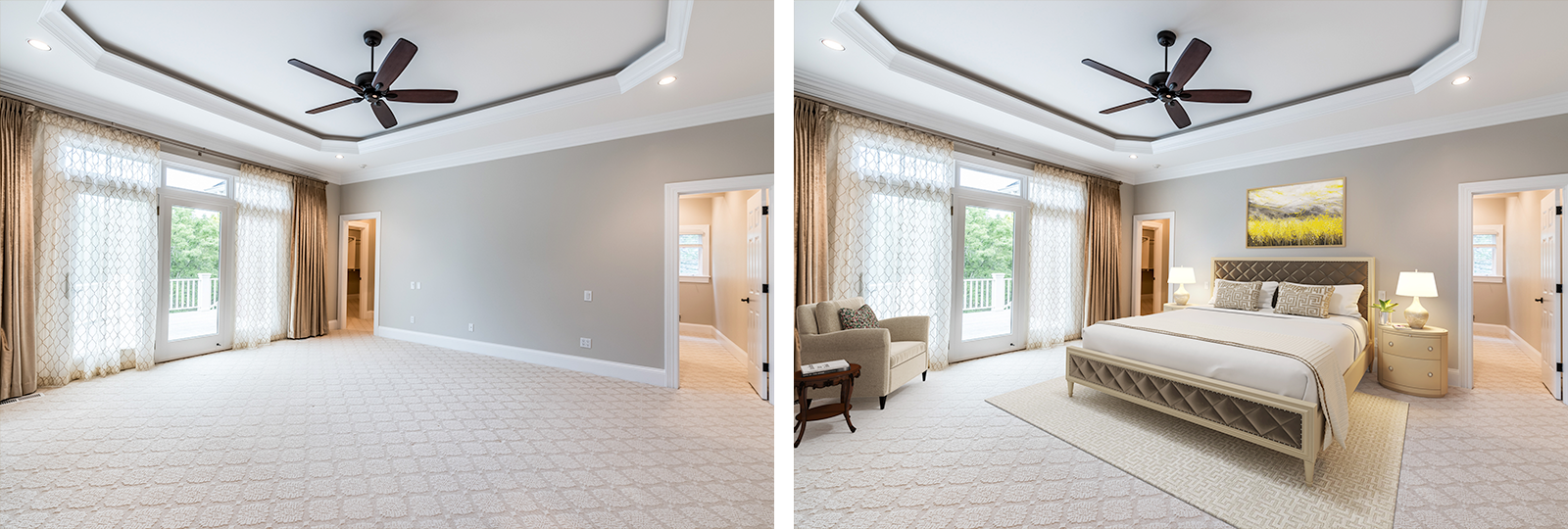 virtually staged contemporary master bedroom before and after