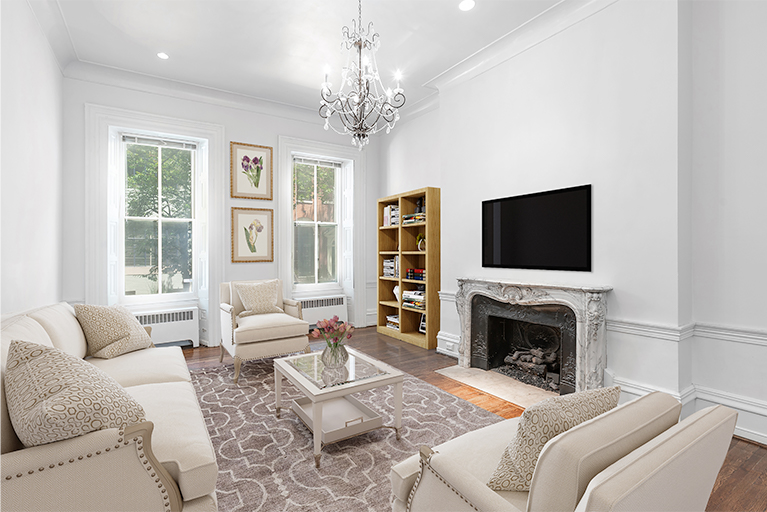 Virtually Staged Traditional Living Room